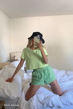 Women's New Arrivals Style Casual, Cute Casual Outfits, Summer Outfits, My Style, Green Outfits, Easy Outfits, Girl Style, How To Have Style, Mode Ulzzang