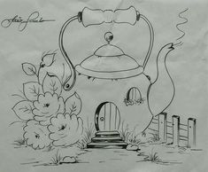 Para mi cocina Easy Disney Drawings, Cartoon Drawings, Cool Drawings, Tole Painting, Fabric Painting, Painting & Drawing, Colouring Pages, Coloring Books, Applique Patterns