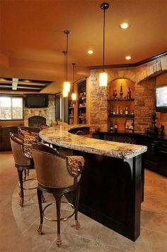 Love The Stone Work And Curved Bar Area   Great For Entertainment Room.in  My Dreams