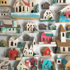 A beautiful collection of Putz houses. Putz Houses, Fleas, Squirrel, Vintage Shops, Vintage Christmas, All About Time, Real Estate, Holidays, Holiday Decor
