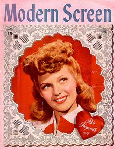 Rita Hayworth on the cover of Modern Screen magazine, March USA. Star Magazine, Movie Magazine, Rita Hayworth, Classic Hollywood, Old Hollywood, Hollywood Icons, Hollywood Actresses, June Lockhart, Hollywood Magazine
