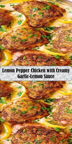 Lemon Pepper Chicken with Creamy Garlic-Lemon Sauce Lemon Pepper Chicken, Lemon Sauce, Chicken Stuffed Peppers, Garlic, Pork, Wings, Sweet, Recipes, Kale Stir Fry