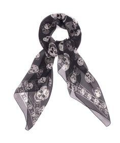 Black/Ivory Skull Scarf - classic McQueen skull scarf