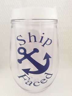 Travel Wine Glass Ship Faced Wine Glass by MelissasHomeDecor