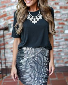 Women's fashion | Casual top, chic sequins skirt, statement…