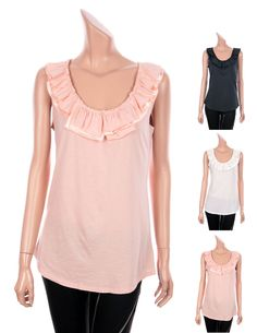 OLD NAVY Womens Ruffle Roundneck Sleeveless Tank Tops Basic T-Shirts 3Colors S M #OLDNAVY #Blouse #Casual