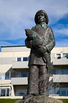 Stock Photo #1486-11711, Skarungen sculpture by Trygve Dammen, Honningsvag Port, Honningsvag, Mageroya Island, Nordkapp, Finnmark County, Norway