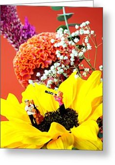Tiny People Big World Greeting Cards - The concert in the flower miniature art Greeting Card by Paul Ge