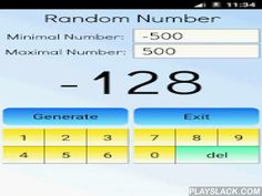 Random Number Calculator  Android App - playslack.com ,  This app is a free random number calculator. You can set the maximum number, and the app will generate a random number between 1 and the maximum number.- you can use this app like a dice (maximum number 6) for different games, like backgammon, monopoly, craps, hazard and others. - you can also simulate coin flipping (maximum number 2)Note: Random numbers have applications in gambling, statistical sampling, computer simulation…