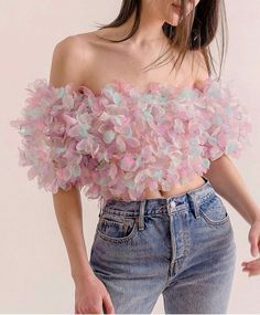 summery floral organza top / gorgeous butterfly kissed organza cropped top / magical clothing by lirika matoshi Teen Fashion Outfits, Look Fashion, Trendy Outfits, Girl Fashion, Fashion Dresses, Cute Outfits, Fashion Design, Womens Fashion, Fashion Fall