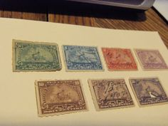 OLD 1898 SERIES OF 7 DOCUMENTARY INTER- REVENUE STAMPS - USED