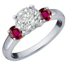 Platinum Diamond and Ruby Engagement Ring (.85 ct. tw.)