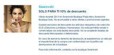 10% de descuento en Swarovski con la Tarjeta Confianza. http://www.hospitalmedimar.com/confianza/