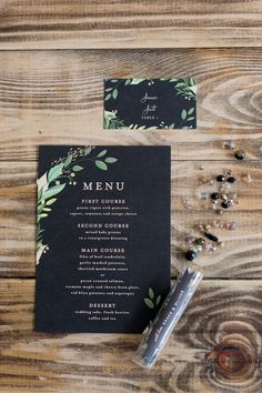 Luxe Black Greenery Wedding Inspiration - Minted menu cardYou can find Menu cards and more on our website. Green Wedding Invitations, Wedding Menu Cards, Wedding Stationery, Wedding Table, Wedding Paper, Marquise Ring, Floral Invitation, Invitation Templates, Wedding Rehearsal