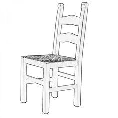 RUSTICONA. Lo schienale è alto e decorato da due stecche orizzontali mentre la seduta può essere scelta tra legno o paglia.