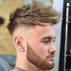 High Razor Fade with Textured Hair and Beard