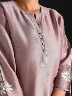 Grape Varak-printed Chanderi Kurta with Lining Silk Kurti Designs, Kurta Designs Women, Salwar Designs, Kurti Designs Party Wear, Neck Designs For Suits, Neckline Designs, Dress Neck Designs, Blouse Designs, Kurta Patterns