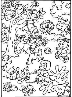 Kleurplaat Beestenboel met spelende kinderen - Kleurplaten.nl