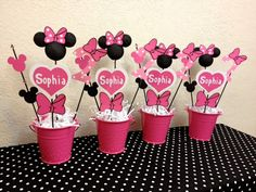 Minnie Mouse Birthday Decorations (Set of 4 Centerpieces) - Adaline Baby Name - Ideas of Adaline Baby Name - Minnie Mouse Table, Minnie Mouse Birthday Decorations, Minnie Mouse Theme Party, Minnie Mouse First Birthday, First Birthday Parties, First Birthdays, Mickey Birthday, 2nd Birthday, Birthday Ideas