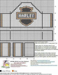 Harley Napkin Salt and Pepper Holder 2 Paper Plate Holders, Plastic Bag Holders, Napkin Holders, Note Holders, Box Patterns, Craft Patterns, Plastic Canvas Crafts, Plastic Canvas Patterns, Cross Stitch Designs