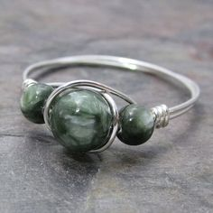 Seraphinite Clinochlore Sterling Silver Wire Wrapped Ring ANY size