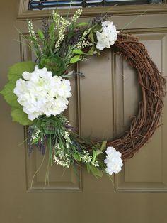 Succulent and hydrangea grapevine wreath