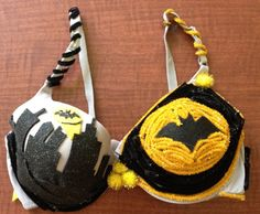 This bra is Batman themed and was made by the Men's Ultimate Frisbee Team. It is a 38 D.