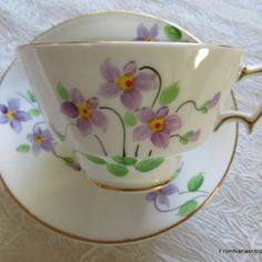 Vintage Woodlands Bone China Made in England Tea Cup & Saucer