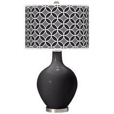 $149.99 + free shipping. Same lamp again with different shade. Tricorn Black Circle Rings Ovo Table Lamp