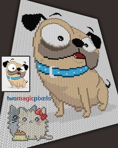 Funny Pug Dog crochet graph/pattern JPG and PDF by TwoMagicPixels