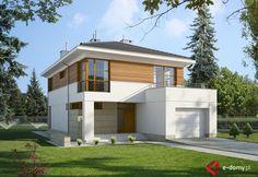 E-139 Dom piętrowy na wąską działkę - E-DOMY.pl Projekty domów jednorodzinnych, piętrowych, energooszczędnych.