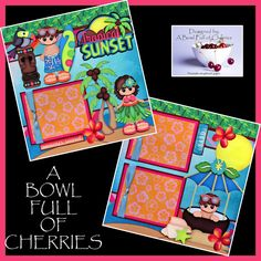 TROPICAL SUNSET beach vacation 2 Premade Scrapbook Pages paper piecing BY CHERRY #Handmade