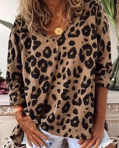 V Neck Leopard Print Loose Top – ebuytide Order Checks, Measurement Chart, Loose Tops, Shoulder Sleeve, Pattern Fashion, Blouse Designs, Blouses For Women, V Neck, Note