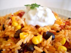 Cheesy rice and beans - Doesn't say at what point to combine the rice with the other ingredients (unless I missed it?) but I guess I can figure it out.