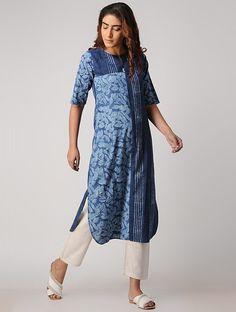 Buy Indigo Block printed Cotton Tunic Women Tunics Online at Jaypore.com