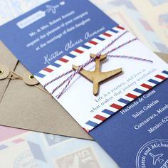 Modern Air Mail White Ink Wedding Invitation (Mexico)