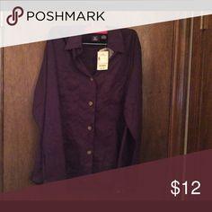 "Purple ""moleskin"" buttondown by Hunt Club Dark purple (eggplant) soft, faux suede or what I called ""moleskin"". NWT, size 8M, with brown buttons Hunt Club Tops Button Down Shirts"