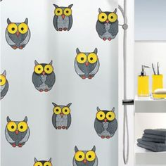 Spirella Gray Owl PEVA Waterproof Shower Curtain Swiss Design Animal Shower Curtain 180cm200cm ** Want to know more, click on the image.