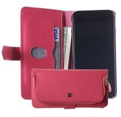 #iPhone6s Case, Monica [ZIPPER POUCH] Premium Leather [STANDING] [CARD SLOT] Flip Cover Wallet #Case for Apple iPhone 6 (Pink)