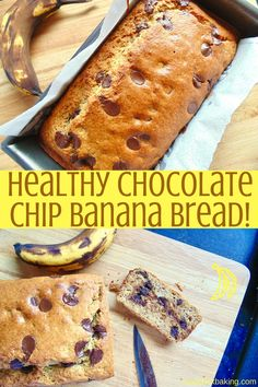 Healthy Chocolate Chip Banana Bread! Moist, delicious and healthy banana bread full of dark chocolate chips. Less sugar and less fat than regular recipes, but better flavour!