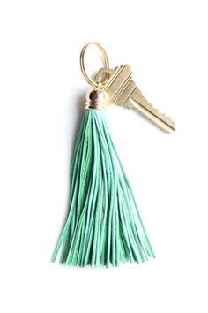 Mint Leather Tassel Keychain by DearMushka on Etsy, $17.00