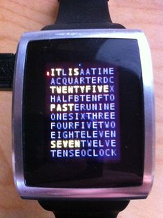 Watch that tells time in word search format. I want one!