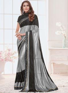 7158303d2cd0a Siya Fashions Online Silver Color Lycra Fabric Saree  silversaree   maternityfashion  eveningsaree  sareeuk
