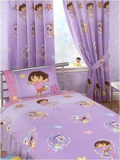"Dora The Explorer Swirl 100% Cotton Curtains 66"" x 54"" With Tie Backs - Lilac in Home, Furniture & DIY, Children's Home & Furniture, Curtains 