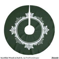 Snowflake Wreath in Dark Green & White Brushed Polyester Tree Skirt