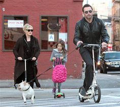 Hugh Jackman with his family and pup Dali