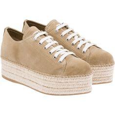 Miu Miu Espadrillas ($595) ❤ liked on Polyvore featuring shoes, espadrilles, miu miu, scarpe, desert brown, wedge espadrilles, suede shoes, espadrilles shoes and laced shoes