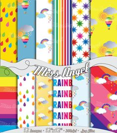 "Rainbows Wrapping Papers. Digital paper sheets. Colorful rainbow backgrounds. 12 Printable Rainbow Patterns 12""X12"", by MissAngelClipArt"