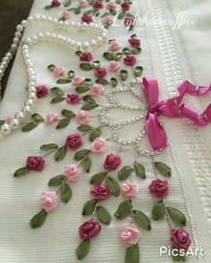 Wonderful Ribbon Embroidery Flowers by Hand Ideas. Enchanting Ribbon Embroidery Flowers by Hand Ideas. Ribbon Embroidery Tutorial, Hand Embroidery Stitches, Silk Ribbon Embroidery, Hand Embroidery Designs, Beaded Embroidery, Embroidery Patterns, Embroidery Supplies, Ribbon Art, Ribbon Crafts