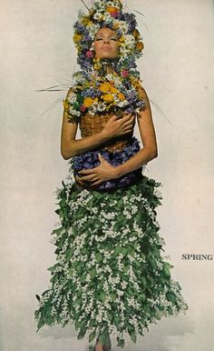 Floral fashion photography by Irving Penn, 1966.